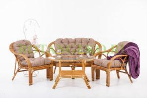 Комплект Маркос, ротанг - орех, подушки - бежевые