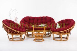 Комплект Монако, ротанг - орех, подушки - красные