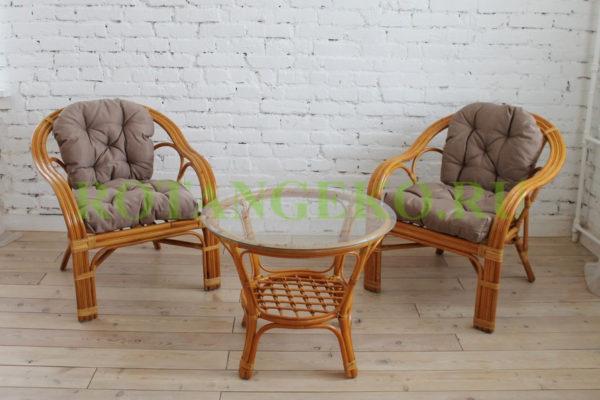 Маркос дуэт с круглым столом, ротанг - орех, подушки - бежевые