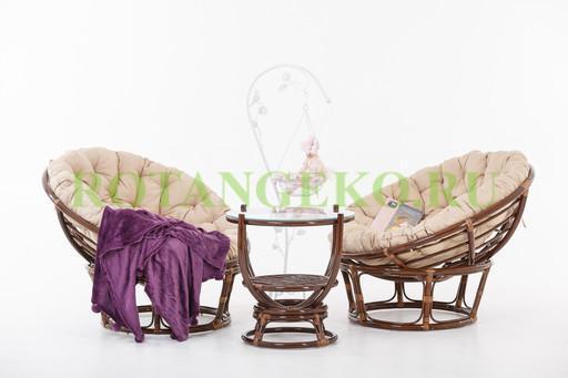 Монако Дуэт, ротанг - молочный шоколад, подушки - бежевые