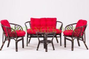 Комплект-Багама-ротанг-молочный шоколад-подушки-красные
