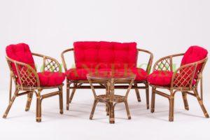 Комплект-Багама-ротанг-орех-подушки-красные
