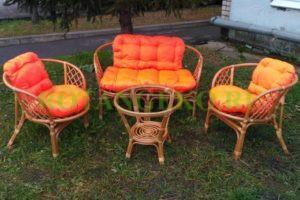 Комплект-Багама-ротанг-орех-подушки-оранжевые