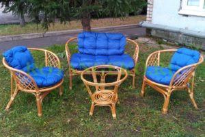 Комплект-Багама-ротанг-орех-подушки-синие