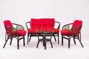 Комплект Багама, ротанг - молочный шоколад, подушки - красные