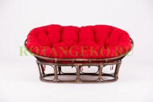 Диван Мамасан,  ротанг -грецкий орех, подушки - красные