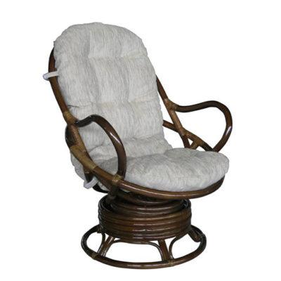 Кресло Свивел, ротанг - молочный шоколад, подушки кремовые