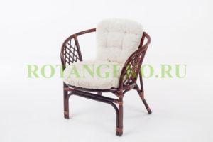 Кресло Бали, ротанг - молочный шоколад, подушки - экрю