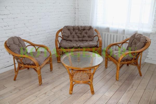 Комплект Маркос круглый стол, ротанг - орех, подушки - бежевые