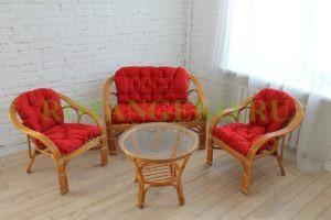 Комплект Маркос круглый стол, ротанг - орех, подушки - красные