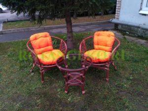 Комплект Чарли, ротанг - коньяк, подушки - оранжевые