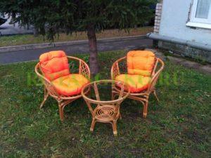 Комплект Чарли, ротанг - орех, подушки - оранжевые