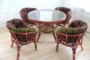 Комплект Милано, ротанг - коньяк, подушки - коричневые
