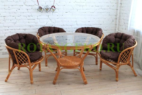 Комплект Милано, ротанг - орех, подушки - коричневые