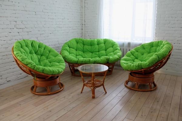 Комплект Монако премиум, ротанг - орех, подушки - зеленые