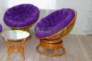 Папасан твист дуэт, ротанг - орех, подушки - фиолетовые