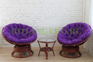Папасан твист дуэт, ротанг - коньяк, подушки - фиолетовые