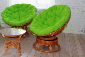 Папасан твист дуэт, ротанг - орех, подушки - зеленые