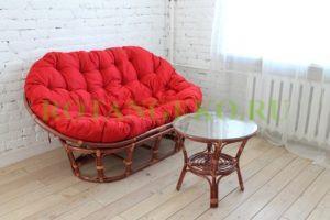 Комплект Релакс, ротанг - .коньяк, подушка - красная