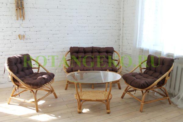 Комплект Ява, ротанг - орех, подушки - коричневые