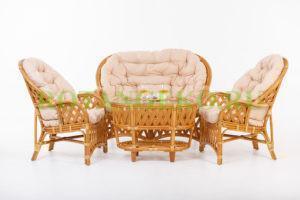 Комплект Рузвельт , ротанг - орех, подушки - бежевые