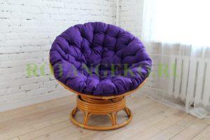 Папасан твист, ротанг - орех, подушка - фиолетовая
