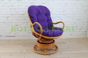 Свивел, ротанг - орех, подушка фиолетовая