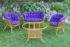 Багама люкс с овальным столом, ротанг - орех, подушки - фиолетовые