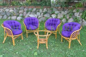 Шарлотта люкс, ротанг - орех, подушки - фиолетовые