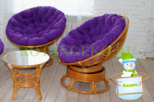 НГ Папасан твист дуэт, ротанг - орех, подушки - фиолетовые
