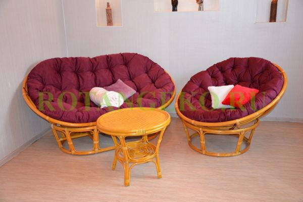 Монако комби, ротанг - орех, подушки - бордовые