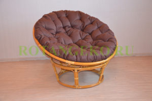 Папасан, ротанг - орех, подушка - коричневая