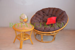 Папасан релакс, ротанг - орех, подушки - коричневые
