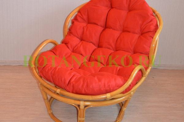 Папасан челси, ротанг - орех, подушка - красная