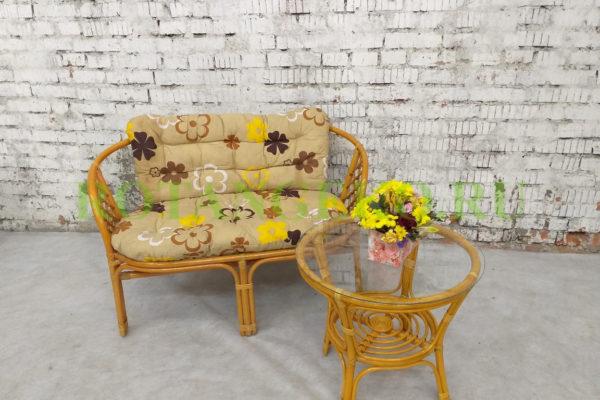 Альберто релакс, ротанг - орех, подушки - бежевые с цветами
