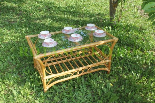 Прямоугольный стол Касабланка, ротанг - орех