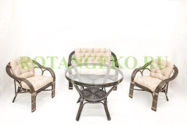 Маркос с обеденным столом, ротанг - молчный шоколад, подушки - бежевые