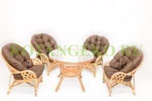 Рузвельт квартет с обеденным столом, ротанг - орех, подушки - коричневые