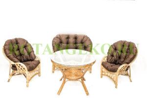 Рузвельт с обеденным столом, ротанг - орех, подушки - коричневые