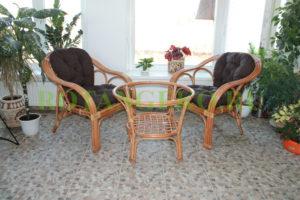 Маркос дуэт с круглым столом, ротанг - орех, подушки - коричневые
