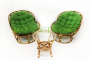 Папасан Челст Дуэт, ротанг - орех, подушки - зеленые