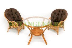 Рузвельт дуэт с обеденным столом, ротанг - орех, подушки - коричневые