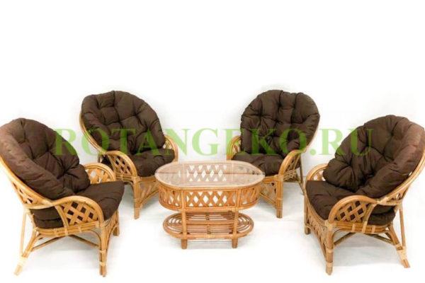 Рузвельт квартет, ротанг - орех, подушки - коричневые