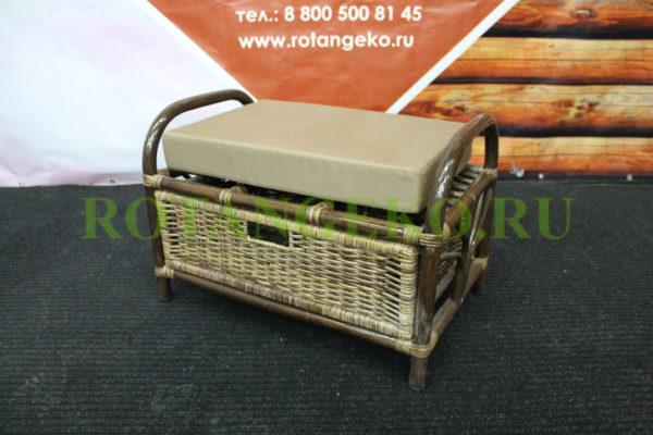 Банкетка с ящиком, ротанг - молочный шоколад, подушка - бежевая