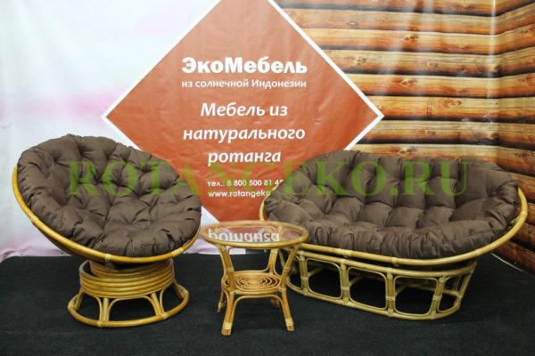 Комплект - Монако Комби Премиум, ротанг - орех, подушки - коричневые