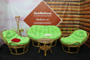 Комплект - Монако Челси, ротанг - орех, подушки - салатовые
