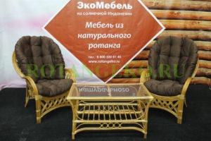Рузвельт Дуэт с прямоугольным столом, орех, коричневые