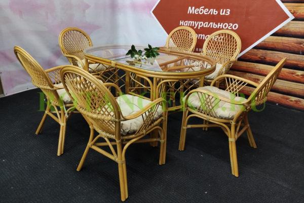 Обеденная группа Гавана (4 кресла), орех, бежевый